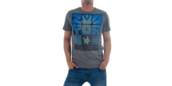 Pánske šedé tričko Zoo York s modro-čiernou potlačou