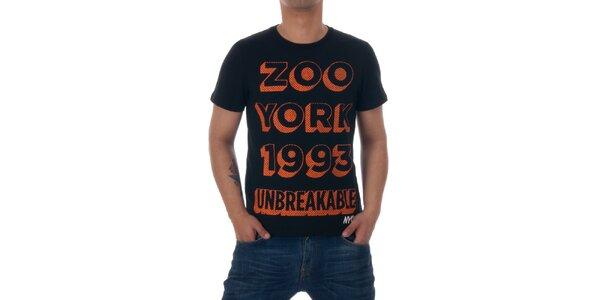 Pánske čierne tričko Zoo York s oranžovou potlačou