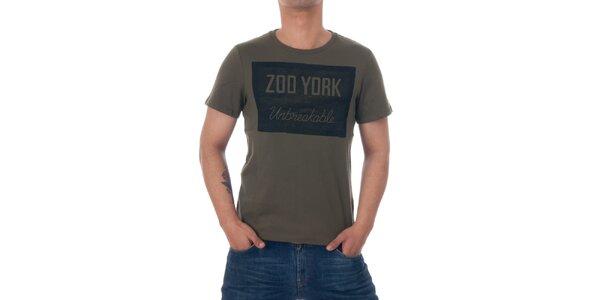 Pánske olivovo zelené tričko Zoo York s čiernou potlačou
