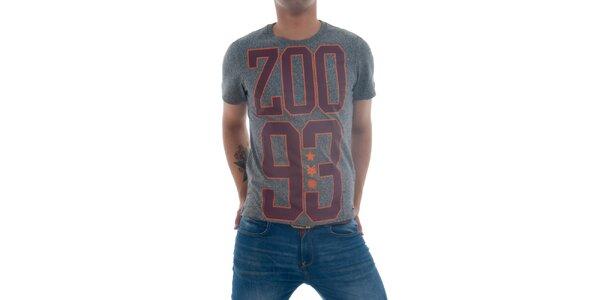 Pánske šedé tričko s vínovou potlačou Zoo York