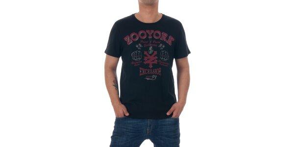 Pánske čierne tričko Zoo York s červenou potlačou