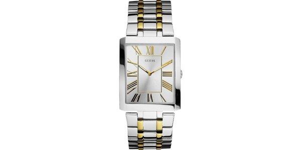 Pánske strieborno-zlaté hodinky s hranatým ciferníkom Guess