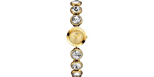 Dámske zlato tónované hodinky s kryštáľmi Guess