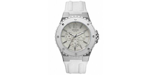 Pánske biele analogové hodinky s chronografom Guess