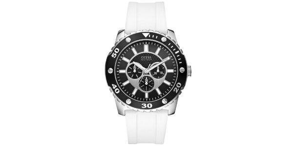 Pánske čierno-biele športové hodinky Guess