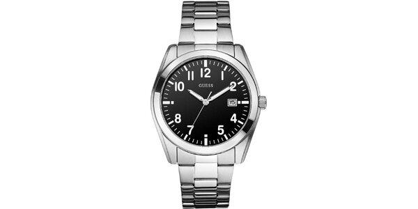 Pánske klasické náramkové hodinky s čiernym ciferníkom Guess