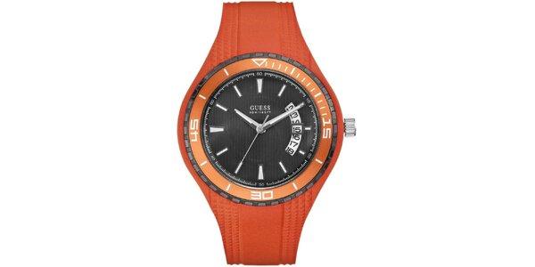 Pánske oranžové náramkové hodinky Guess