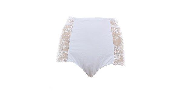 Dámske vysoké biele nohavičky s čipkou Laura Biagiotti