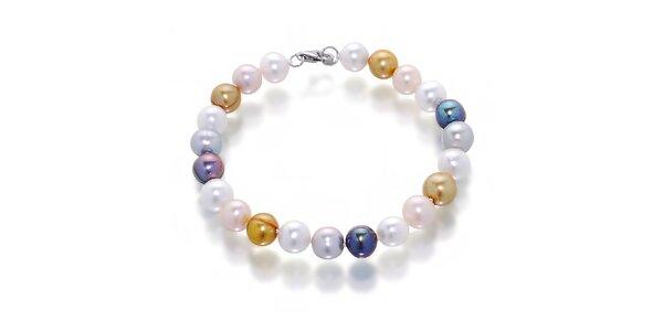 Dámsky náramok s bielymi, čiernymi a marhuľkovými perlami Orchira
