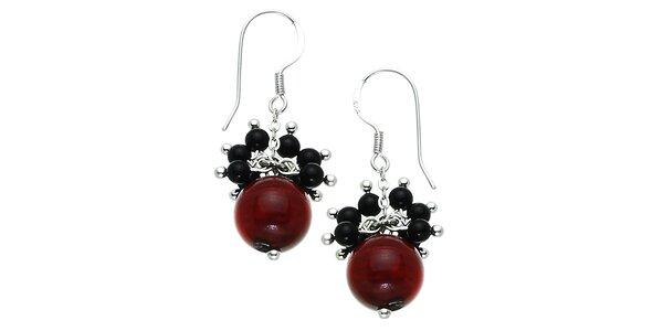 Dámske visiace náušnice Orchira s perlami, ónyxmi a korálmi Orchira
