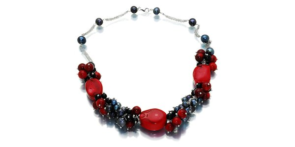Dámsky čierno-červený náhrdelník s perlami a ónyxom Orchira