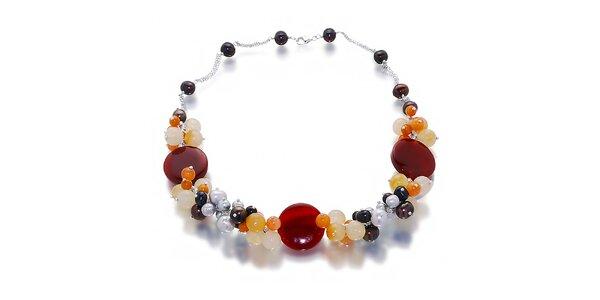 Dámsky náhrdelník z perál a polodrahokamov Orchira