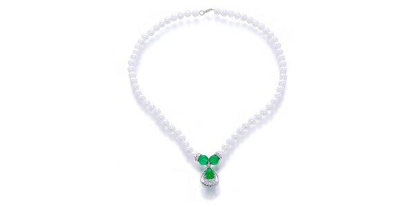 Dámsky náhrdelník s perlami a nefritmi Orchira