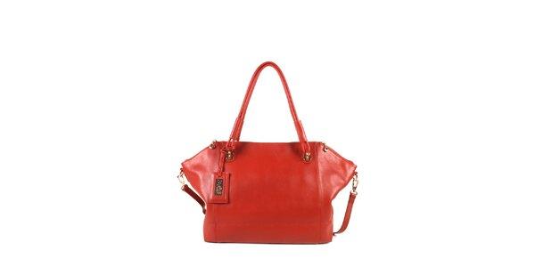 Dámska červená kožená kabelka s odopínacím popruhom Joysens