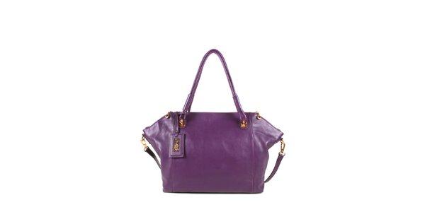 Dámska fialová kožená kabelka s odopínacím popruhom Joysens