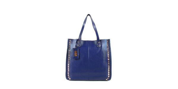 Dámska modrá kožená kabelka s cvočkami a visačkou Joysens
