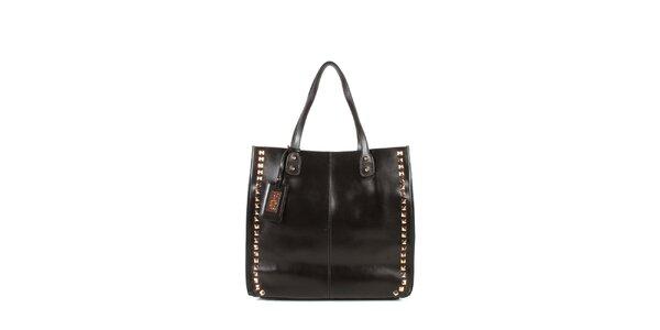 Dámska gaštanová kožená kabelka s cvočkami a visačkou Joysens