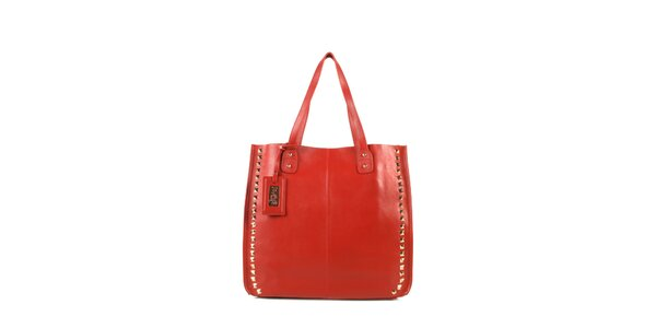 Dámska červená kožená kabelka s cvočkami a visačkou Joysens