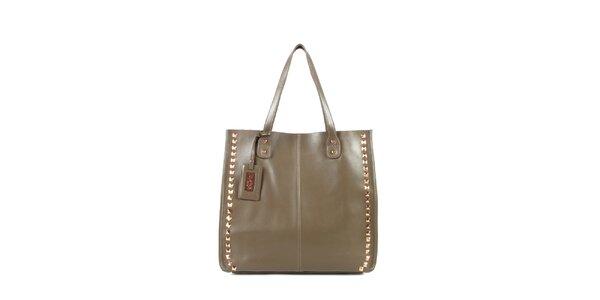 Dámska šedo-béžová kožená kabelka s cvočkami a visačkou Joysens