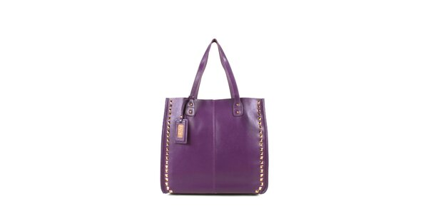 Dámska fialová kožená kabelka s cvočkami a visačkou Joysens