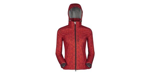 Dámska červená outdoorová bunda s potlačou Husky
