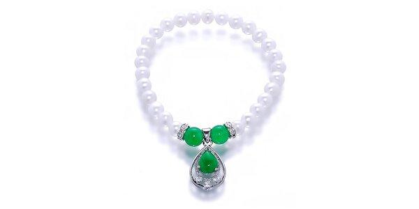Dámsky náramok s perlami a nefritmi Orchira