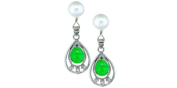 Dámske náušnice s perlami a nefritmi Orchira