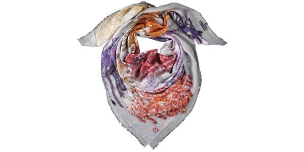 Dámska šatka Fraas v červených a fialových odtieňoch