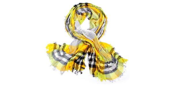 Dámska žltá kockovaná šatka Fraas