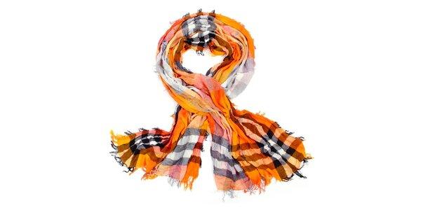 Dámska oranžová kockovaná šatka Fraas