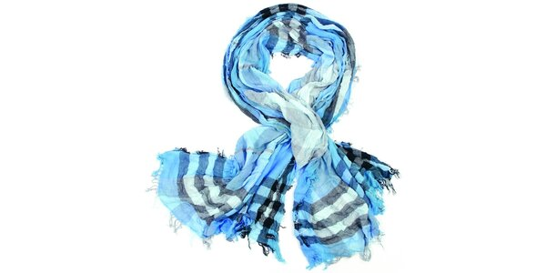 Dámska modrá kockovaná šatka Fraas