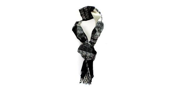 Pánsky čierno-šedo-biely šál Fras