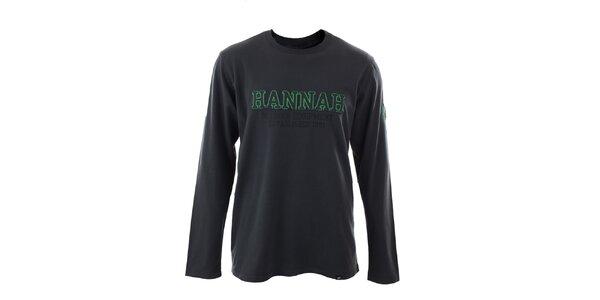 Pánske tmavo šedé tričko s dlhými rukávmi Hannah