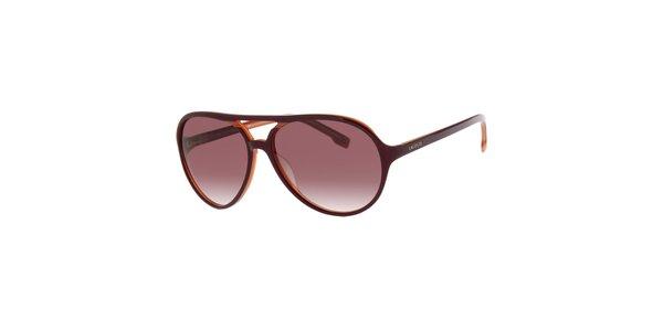Dámske tmavo hnedé slnečné okuliare Lacoste s oranžovým detailom