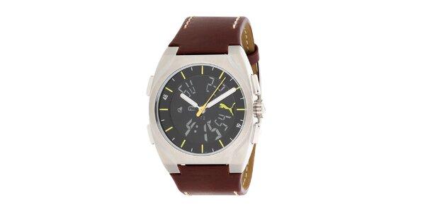 Pánske hnedo-čierne hodinky so žltými prvkami Puma