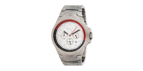 Pánske strieborné analógové hodinky s bielym ciferníkom Puma