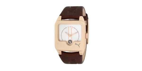 Dámske hnedo-zlaté analogové hodinky Puma