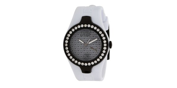 Dámske analogové hodinky s kryštáľmi a bielym remienkom Puma