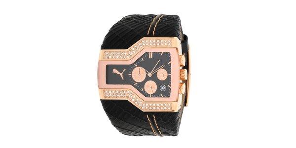 Dámske atypické analogové hodinky Puma s čiernym remienkom