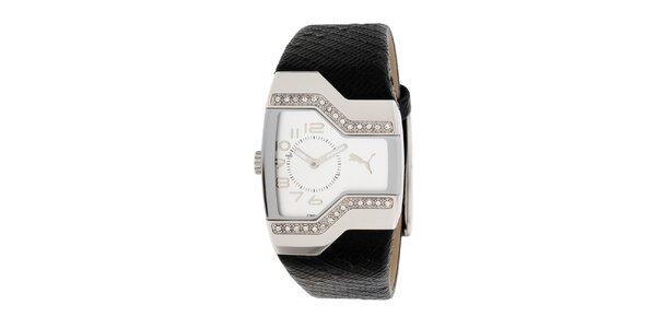 Dámske čierno-strieborné analogové hodinky s kryštáľmi Puma