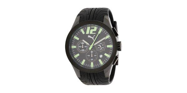 Pánske čierne oceľové hodinky Puma s plastovým remienkom