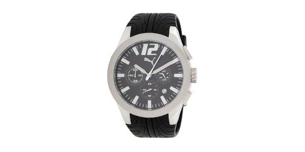 Pánske strieborné hodinky s chronografom Puma