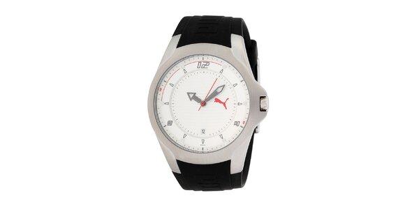 Pánske čierno-strieborné hodinky s červenými detailmi Puma