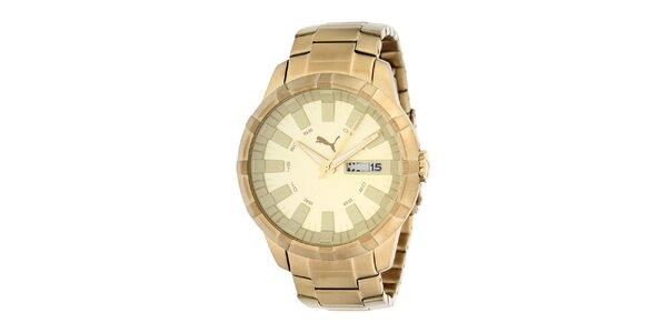 Pánske zlato tónované hodinky Puma