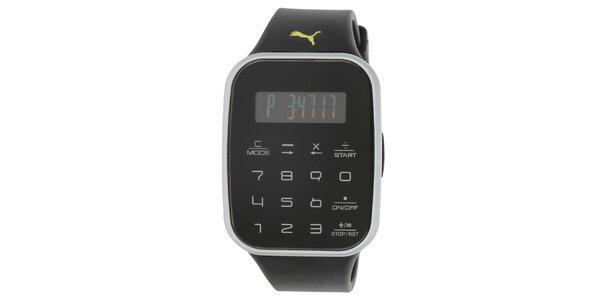 Pánske čierne digitálne hodinky s čiernym remienkom Puma