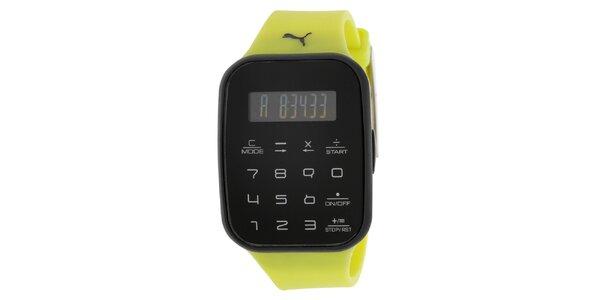 Pánske čierne digitálne hodinky so žltým remienkom Puma