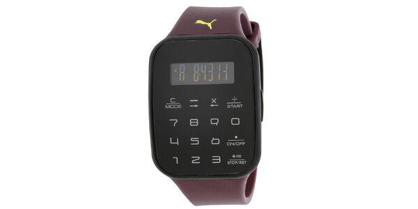 Pánske čierne digitálne hodinky s vínovým remienkom Puma