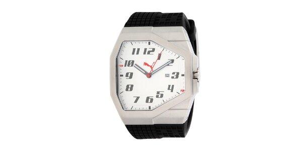 Pánske strieborné hranaté hodinky Puma