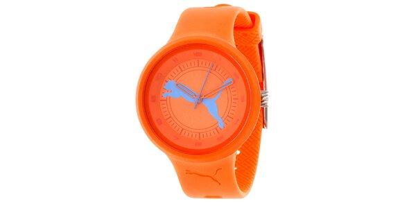 Dámske oranžové okrúhle analogové hodinky Puma