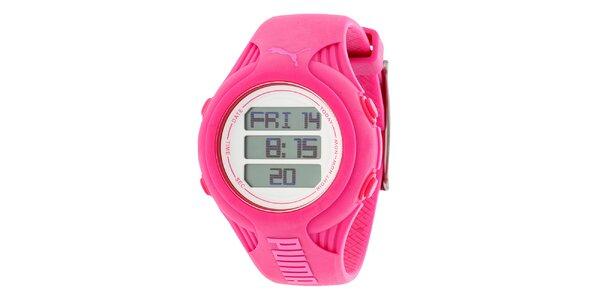 Dámske okrúhle ružové digitálne hodinky Puma